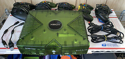 Original Xbox Halo Edition Console w/Cables & 5 Controllers. VG. Working.