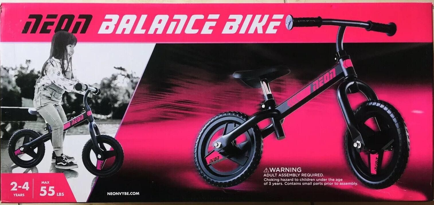 "Neon Balance Bike 12"" Neonvybe Pink & Black Brand New Age"