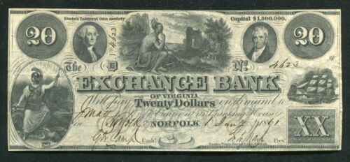 1861 $20 THE EXCHANGE BANK OF VIRGINIA NORFOLK, VA OBSOLETE CURRENCY NOTE AU