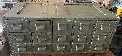 Antique Wood Library File Cabinet Storage Industrial 15 Drawer Shelf Catalog