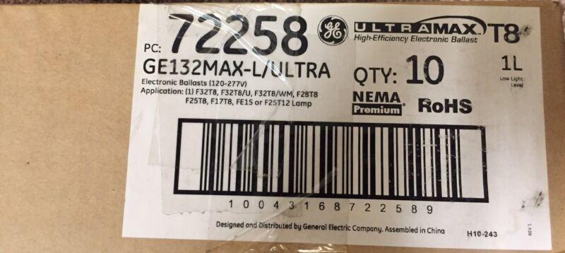 New Box of 10 GE 72258 UltraMax GE132MAX-L/ULTRA T8 Electronic Ballast 120-277V!