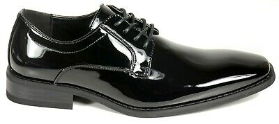 Leather Patent Leather Oxfords - Men's wedding, tuxedo black patent leather formal dress shoes Lace up. Faranzi 2