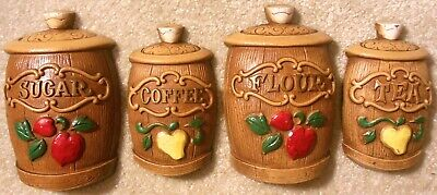 4 Wall Plaques - Vintage 1960s Sexton Cast Metal CANISTERS 4x Wall Plaques Coffee Tea Flour Sugar