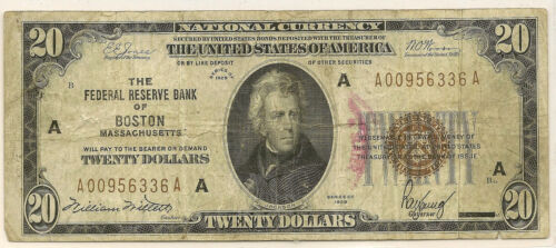 1929 $20 NATIONAL CURRENCY ~ FEDERAL RESERVE BANK BOSTON ~ CIRCULATED ~ #336