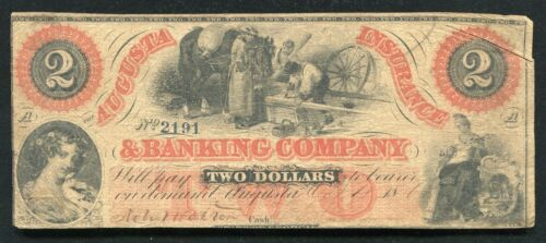1861 $2 THE AUGUSTA INSURANCE & BANKING COMPANY GEORGIA OBSOLETE BANKNOTE (B)