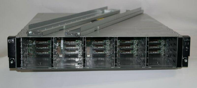 """HP STORAGEWORKS D2700/AJ941-63002 25-BAY 2.5"""" SAS DISK ARRAY 2x PSU,2x I/O+RAILS"""