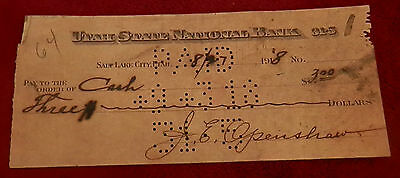 1918 Salt Lake City Utah State National Bank  Check 8 27 18  J E Openshaw