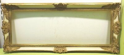 Large Decorated Golden Solid Wood Frame 35,5/49,5 x 100,5/114,5cm
