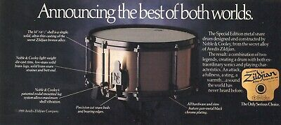 1989 small Print Ad of Noble & Cooley Zildjian Cymbal Alloy Snare Drum