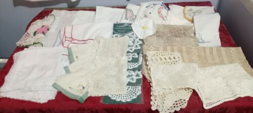 36 pc Lot of Vintage Crocheted and Embroidered Kitchen Linens