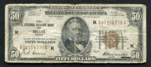 FR.1880-K 1929 $50 FRBN FEDERAL RESERVE BANK NOTE DALLAS, TX KEY DISTRICT SCARCE