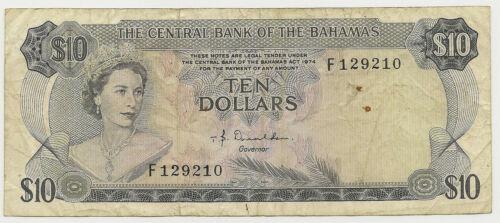 1974 BAHAMAS $10 ~ CIRC./VF DONALDSON ~ PRICED RIGHT! (INV#210)