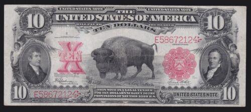 US 1901 $10 Bison Legal Tender FR 122 VF (-124)