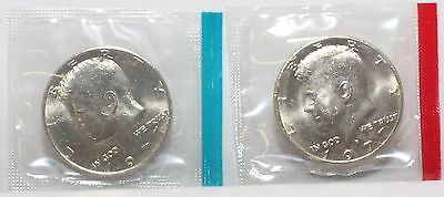1977  P D KENNEDY HALF DOLLARS BU IN US MINT CELLO   2 COIN SET