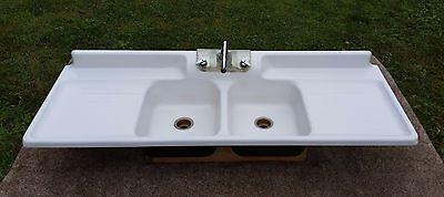 Antique Original Porcelain 6FT Cast Iron Vintage Classic Farmhouse Kitchen Sink