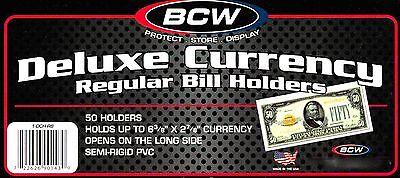 50 Regular Semi Rigid Holders - Sleeve Protectors Dollar Bill Currency Mailer