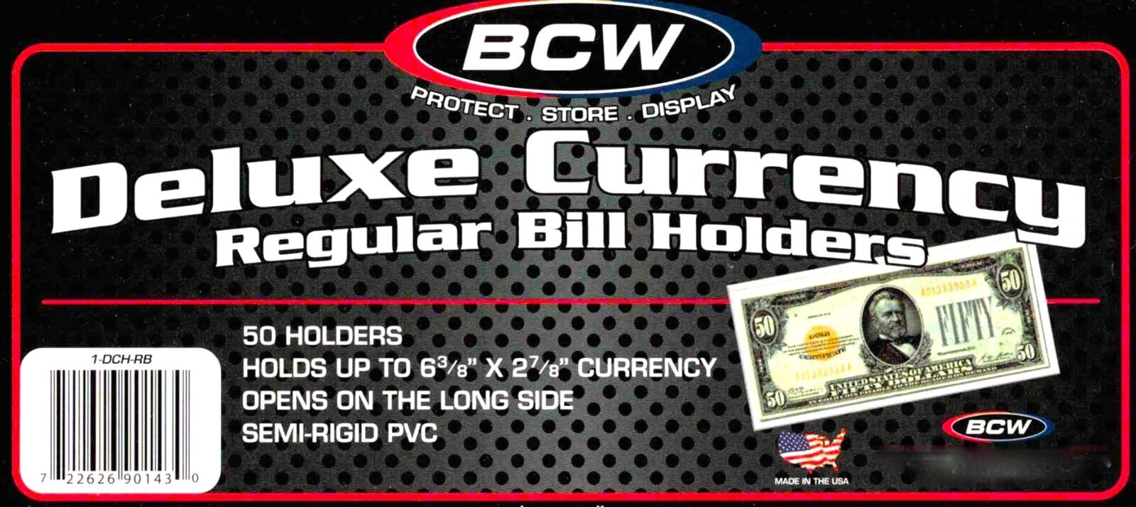 50 Regular Bill Semi Rigid Holders Protectors Dollar Currency Mailer
