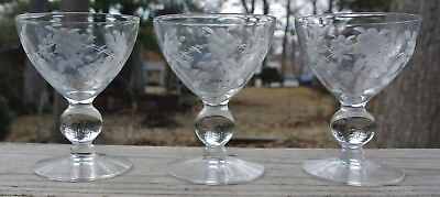 Etch Crystal (Set of 3 Etch Crystal Ball Stem Clear Cordial Glasses. Kitchen Set. Home Decor. )