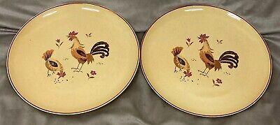 Vintage HARMONY HOUSE HONEY HEN 4555 Dinner plates chicken rooster farm set of -