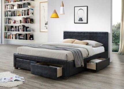 Brand New Double&Queen PU Bed with 4 Big Drawers