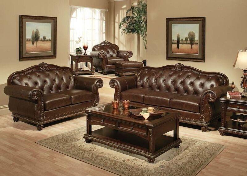 Antique Royal Seating Tufted Formal 2pc Sofa Set Living Room Sofa & Loveseat