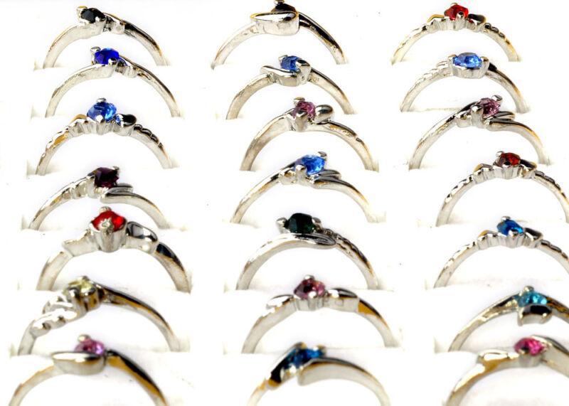 30Pcs Wholesale Lots Fashion Jewelry Crystal CZ Rhinestone Silver Plate Rings