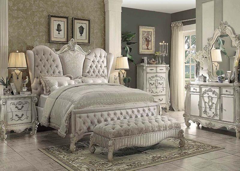 Formal Luxury Antique Versailles White Queen Size 4 Piece Bedroom Set Furniture
