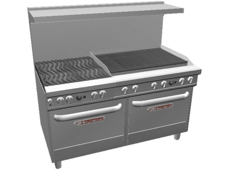 "Southbend Ultimate Range W/ 36"" Charbroiler, Wavy Grates & 2 Std Ovens"