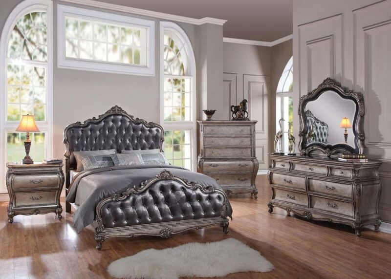 Formal Luxury Antique Chantelle Silver Queen Size 4 Piece Bedroom Set Furniture