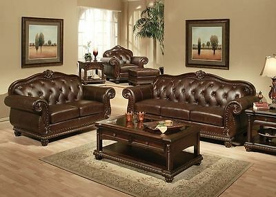 Formal Living Room Traditional Luxurious  Leather 2pc Sofa Set Sofa & Loveseat Formal Living Room