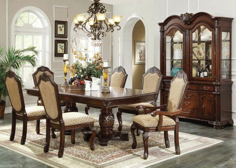 Traditional Formal Style Espresso Finish Dining Table Set Chairs 7pc Dining Room