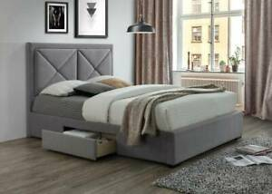 UNBEATABLE !!!!!!!Xavier Double Bed Frame With 2 Side Drawers
