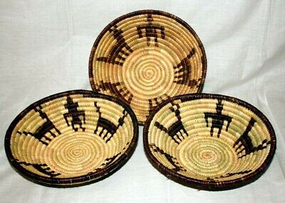 Job-lot of 3 repro Native American Plains Indian baskets