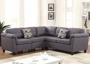 GREY SECTIONAL SOFA WITH CUP HOLDERS AND STORAGE FOR 699$ ONLY