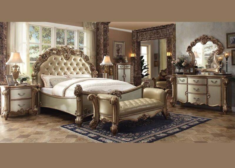 Formal Luxury Antique Vendome Eastern King Size 4 Piece Bedroom Set Furniture
