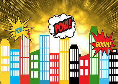 Photo Props Antecedentes Super Hero City Dibujos animados Baby Backdrops Studio ](Baby Super Hero)