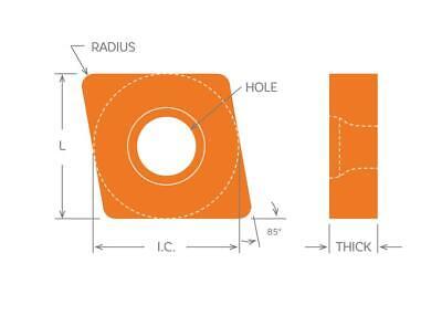 Dorian Tool Insert Cnmg-321-mef Grade Dmc30ut Diamond 80 Negative 38 5