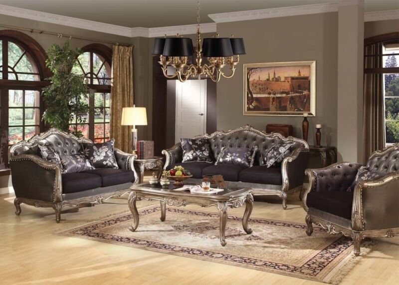 Sofa Loveseat & Chair Formal Traditional Chantelle Antique Platinum Tufted Set