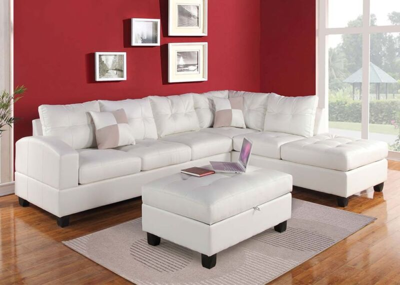 White Bonded Leather Sectional Sofa Couch Sofa & Chaise Plush Seat Furniture