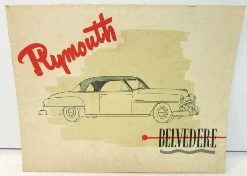 1951 Plymouth Belvedere Canadian Sales Brochure Folder English Text Original