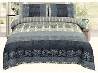 Graphic Print Silver Blue Oriental Duvet Cover & Pillowcases Set- Argenta