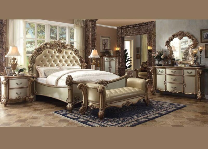 Formal Luxury Antique Vendome California King Size 4 Pcs Bedroom Set Furniture