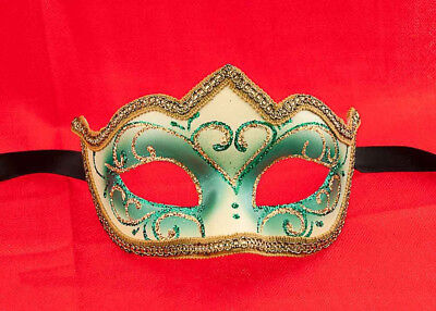 Mask from Venice Colombine a Tip Sissi Green Authentic Venetian 748 V39B
