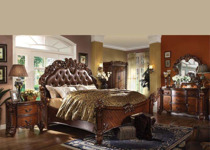 Formal Luxury Antique Vendome Cherry Queen Size 4 Piece Bedroom Set Furniture