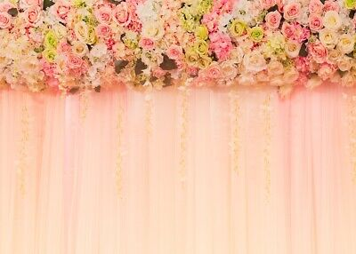 Flower Curtain Bridal Shower Backdrop Girl Birthday Photo Booth Props Background - Photobooth Back Drop