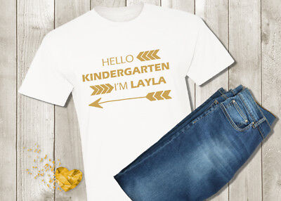 Hello Kindergarten Shirt - First Day of School Girl Tshirt - Personalized Custom - Girl First Day Of School