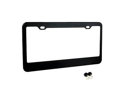 (MATTE BLACK STAINLESS STEEL METAL LICENSE PLATE FRAME+SCREW CAPS TAG COVER)
