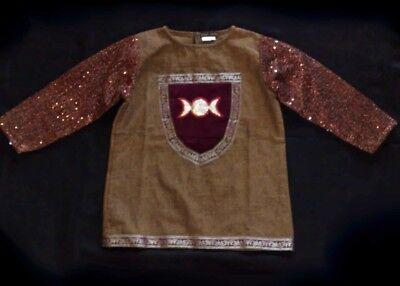 Sparkling golden knight costume tunic top fancy dress triple moon emblem age 1-8 (Moon Knight Kostüm)