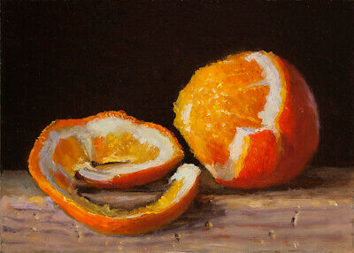 small original oil painting realism still life peeled orange 7x5 Y Wang fine art Still Life Oranges