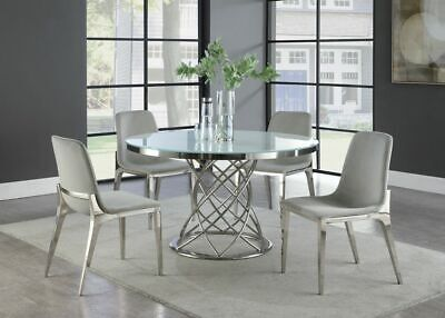 CONTEMPORARY ROUND GLASS CHROME TABLE GRAY CHAIRS DINING ROOM FURNITURE SET